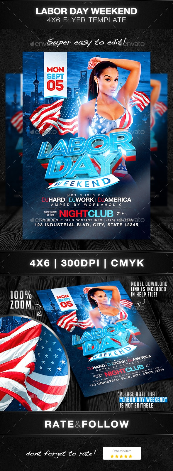 Labor Day Weekend Flyer Template - Clubs & Parties Events