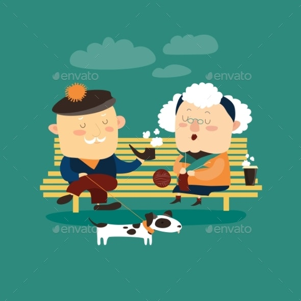 Old Couple Sitting on Bench - People Characters