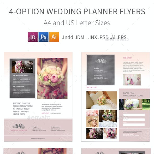 Wedding Planner Flyers – 4 Options