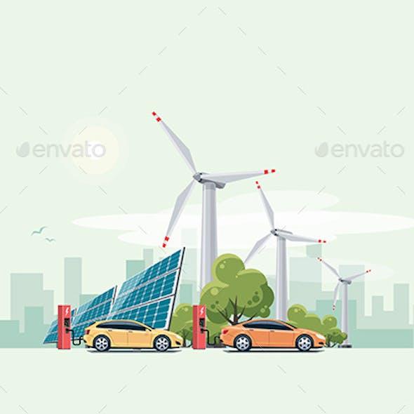 Electric Cars Charging Urban Theme