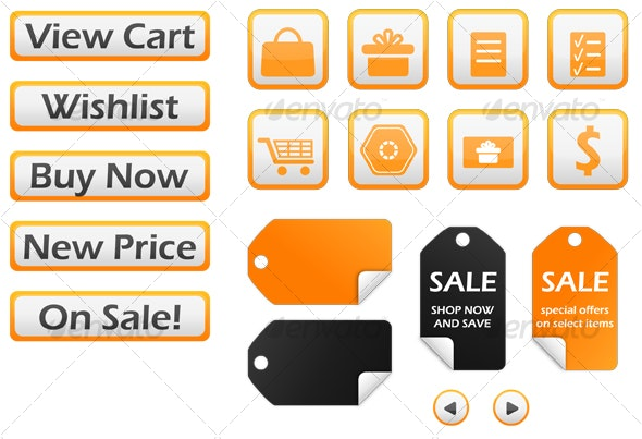 19 Orange & Gray Ecommerce / Web Store Elements - Commercial / Shopping Conceptual