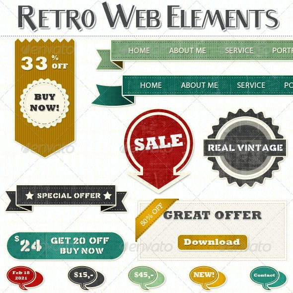 Extended Set of Retro Vintage Web Elements