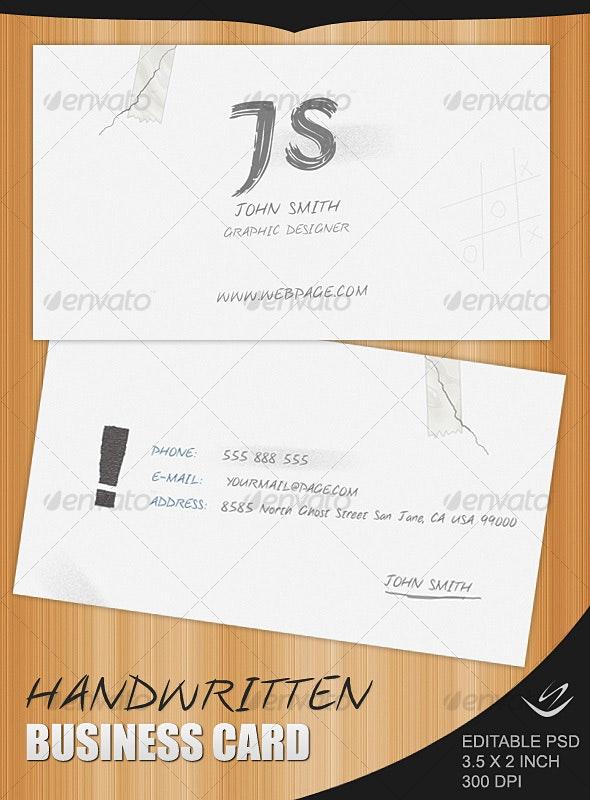 Handwritten Business Card - Creative Business Cards