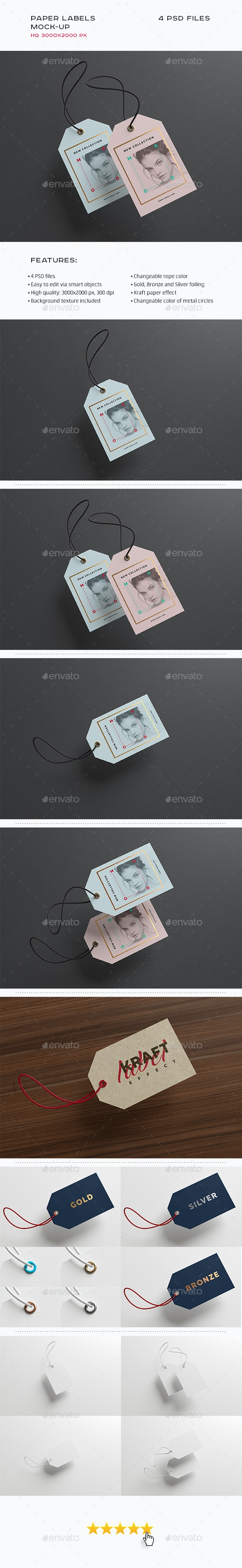 Paper Label / Swing Tags Mock-up - Miscellaneous Print