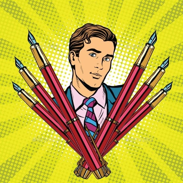 Businessman And Ink Fountain Pen Icon