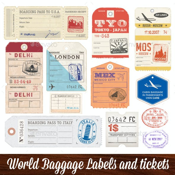 World Luggage Tags Set 2