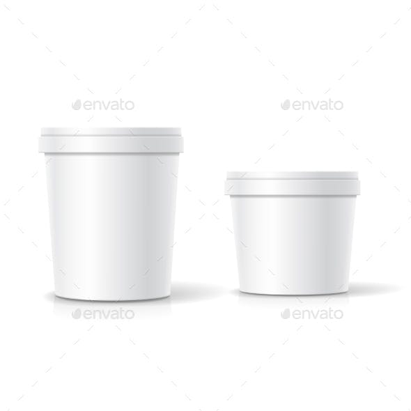 Set of Blank Plastic Bucket Containers