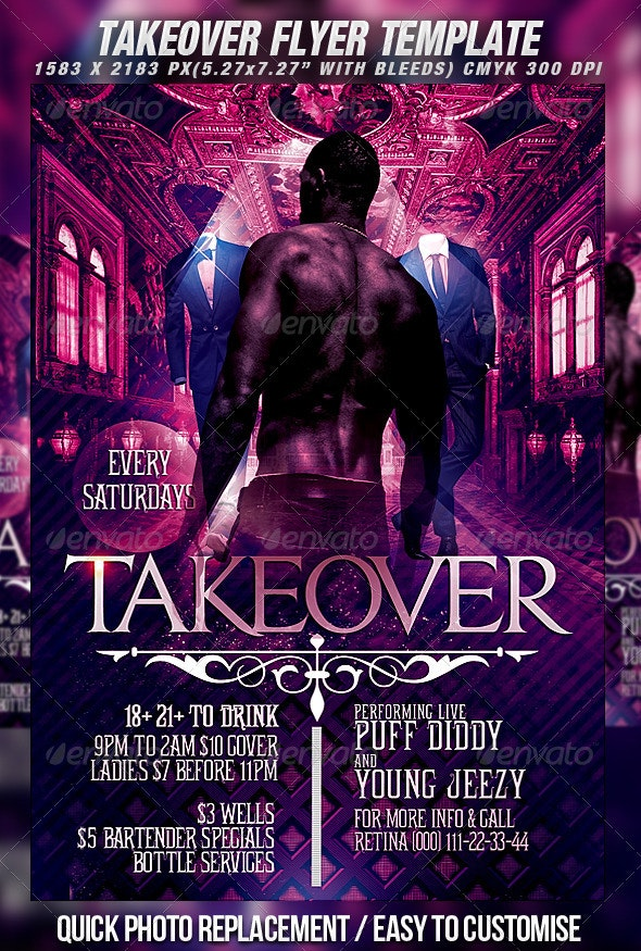 Takeover Flyer Template - Clubs & Parties Events
