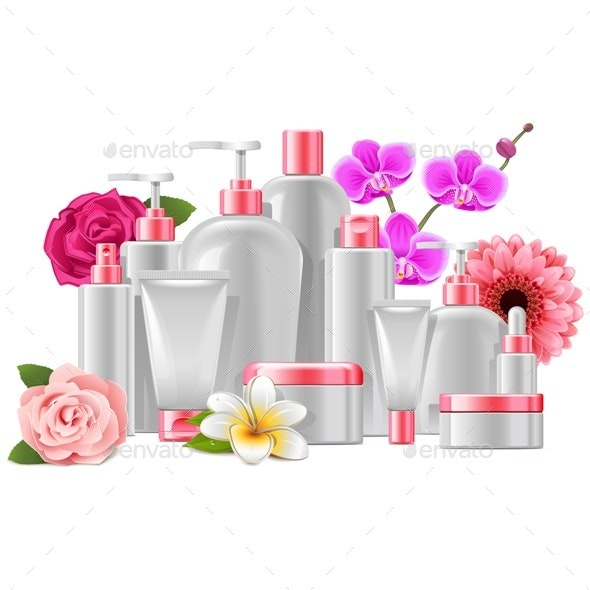 Cosmetic Packaging with Flowers - Health/Medicine Conceptual