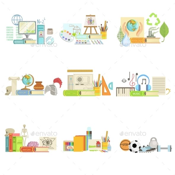 Different School Classes And Sciences Related