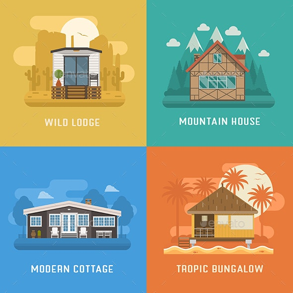 Lodge, Chalet, Cottage and Bungalow House Set - Buildings Objects