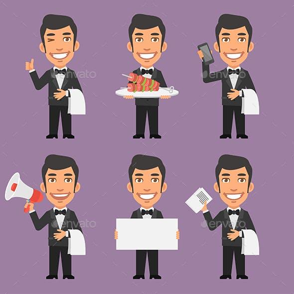 Waiter Holds Phone Paper Megaphone