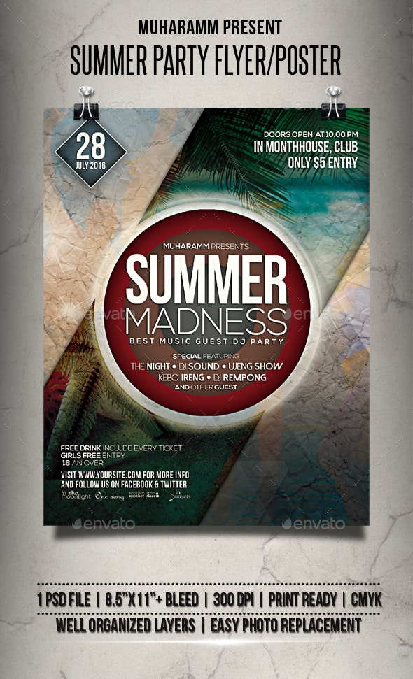 Summer Party Flyer / Poster - Clubs & Parties Events