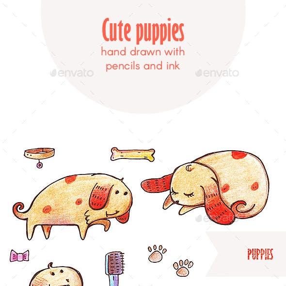 Cute Hand Drawn Puppies Set