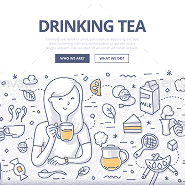 Drinking Tea Doodle Concept