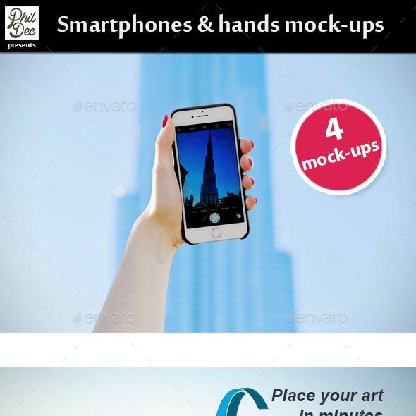 Smartphones & Hands Mock-Ups
