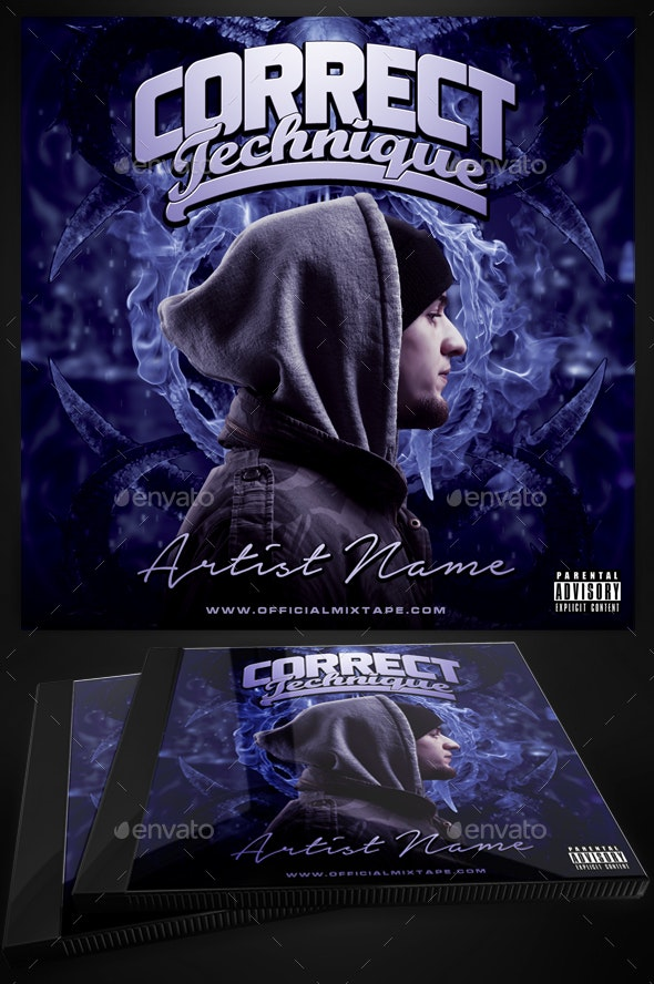 Correct Technique Mixtape Cover Template for Photoshop - CD & DVD Artwork Print Templates