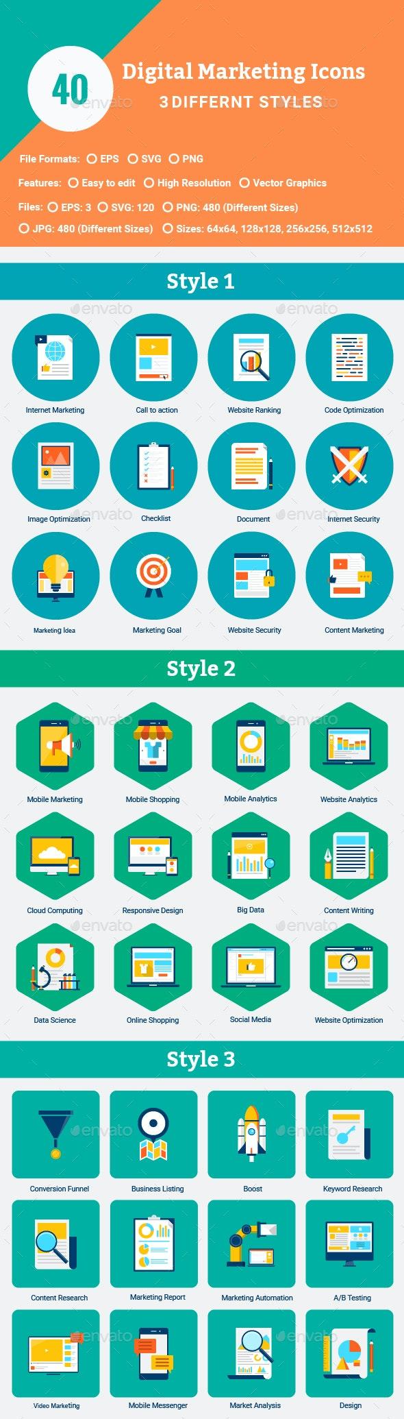40 Flat Digital Marketing Icons - Web Icons