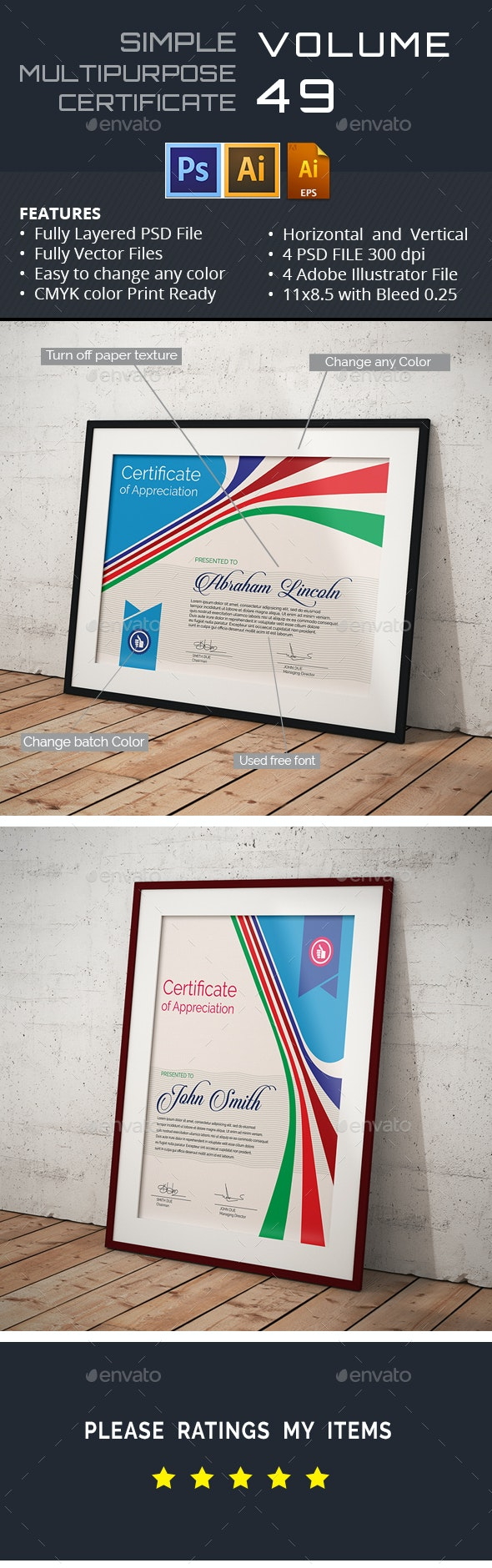 Easy Simple Multipurpose Certificate GD049 - Certificates Stationery