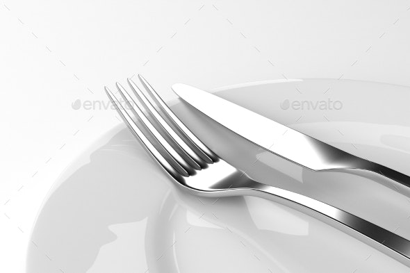 Fork And Knife With Plates - Objects 3D Renders
