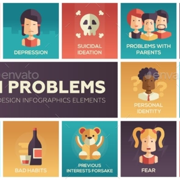 Teen Problems- Flat Design Icons Set