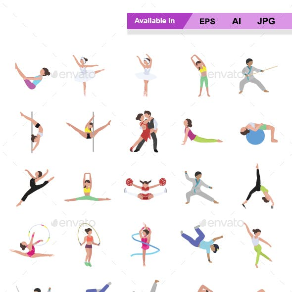 Dance & Fitness Color Vector Icons