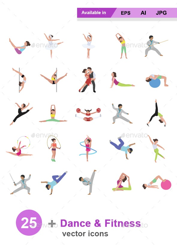 Dance & Fitness Color Vector Icons - People Characters