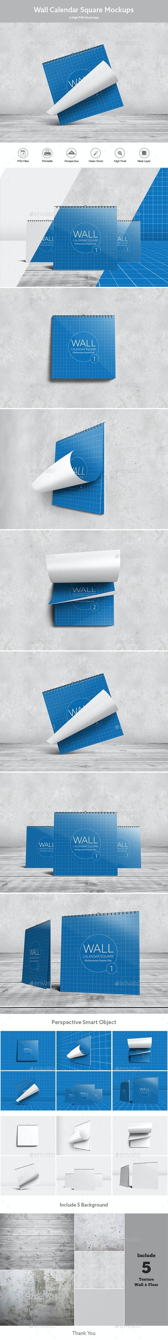 Wall Calendar Square Mock-Ups - Miscellaneous Print