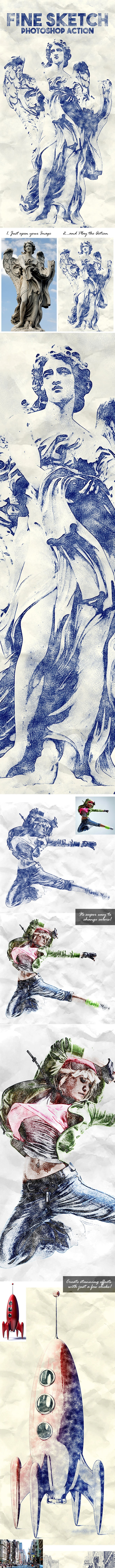 Fine Sketch Photoshop Action - Photo Effects Actions