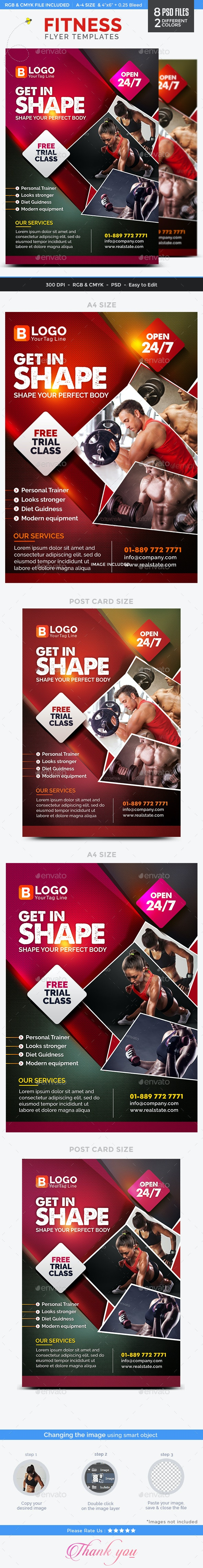 Fitness Flyer Templates - 2 Color Variations - Sports Events