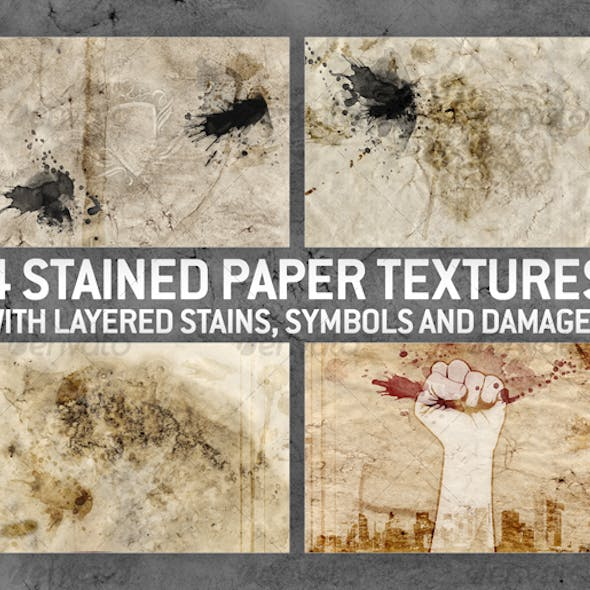 4 Stained Paper Backgrounds with Layered Stains