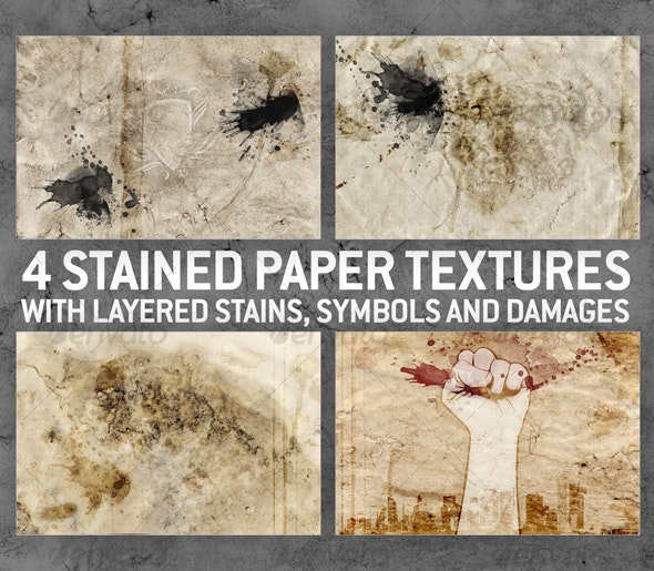 4 Stained Paper Backgrounds with Layered Stains  - Paper Textures