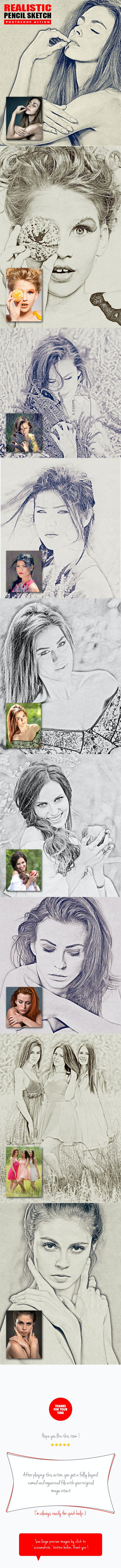 Realistic pencil sketch photoshop action photo effects actions