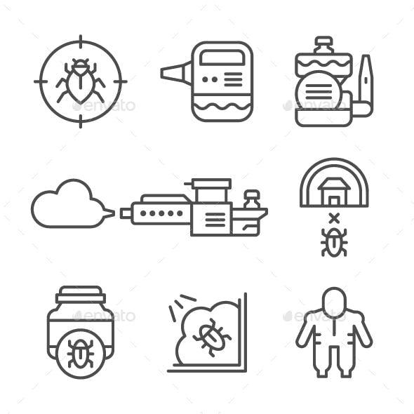 Set Line Icons of Disinfestation