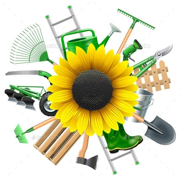 Vector Garden Equipment with Sunflower