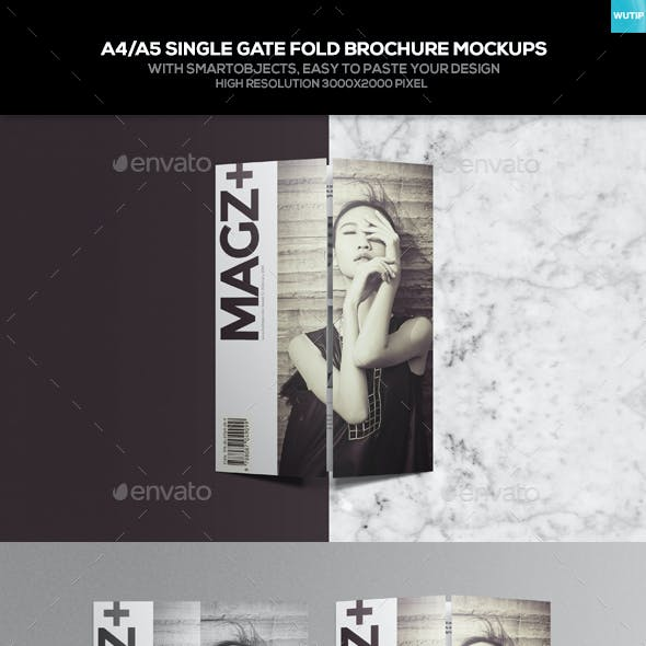 A4/ A5 Single Gate Fold Brochure Mockups