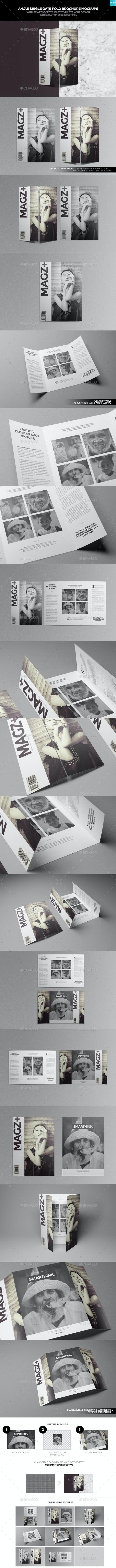 A4/ A5 Single Gate Fold Brochure Mockups - Brochures Print