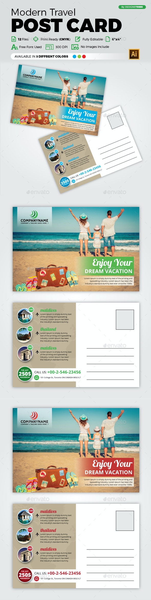 Travel Post Card Design - Cards & Invites Print Templates