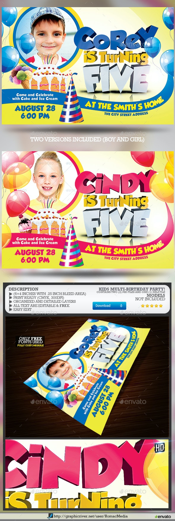 Kids Birthday Party Flyer  - Clubs & Parties Events