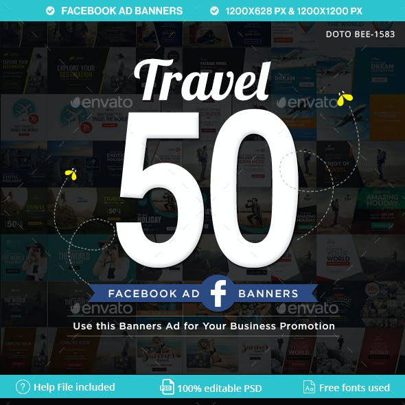 Travel Face book Ad Banners - 25 Designs - 2 Sizes Each
