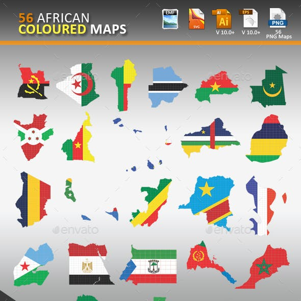 56 African Coloured Maps