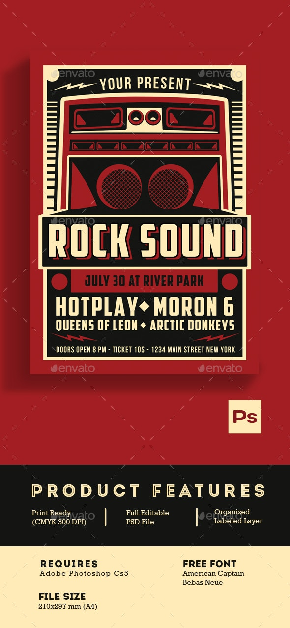 Indie Rock Sound Vintage Style - Events Flyers