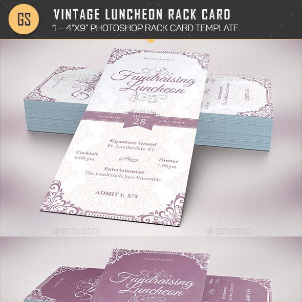 Vintage Luncheon Rack Card Template