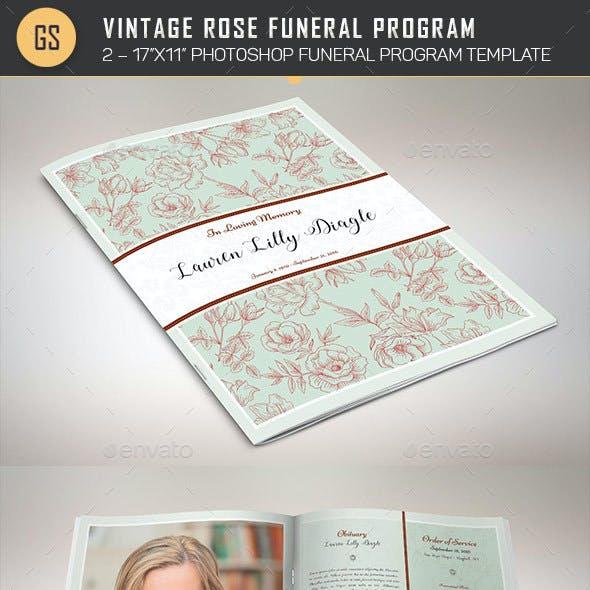 Vintage Rose Funeral Program Template