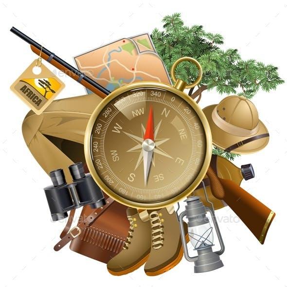 Vector Safari Concept with Compass