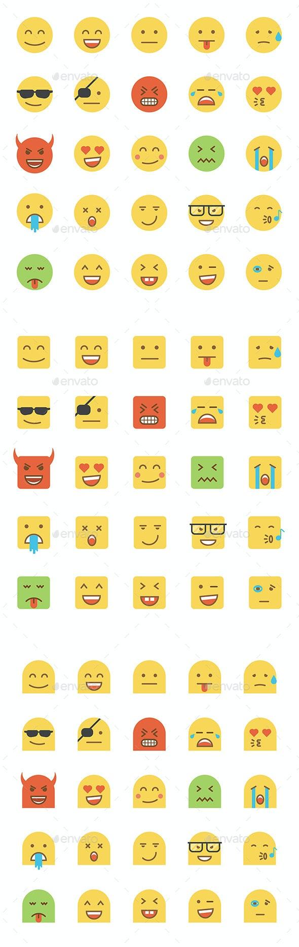 Set of Flat Design Emoji - Miscellaneous Characters