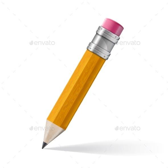 Realistic Yellow Pencil Icon