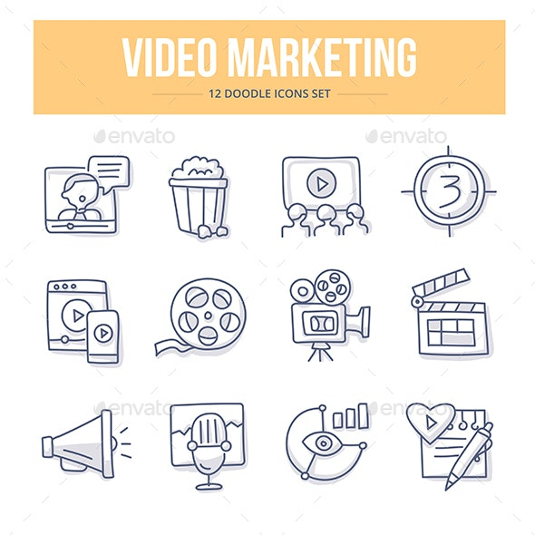 Video Marketing Doodle Icons - Technology Icons