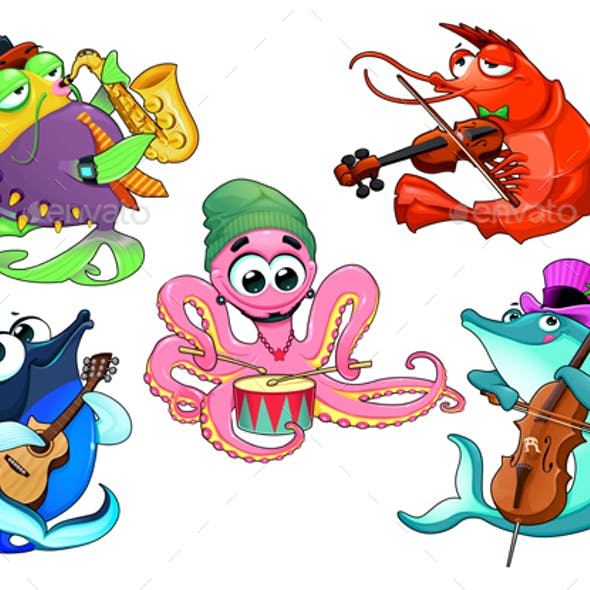 Group of Musician Sea Animals