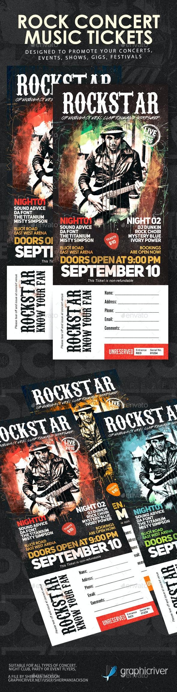 Rock Festival Concert Tickets - Miscellaneous Print Templates